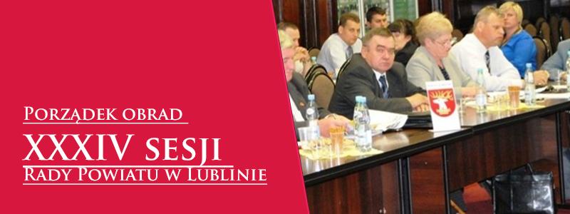 Porządek obrad XXXIV sesji Rady Powiatu w Lublinie